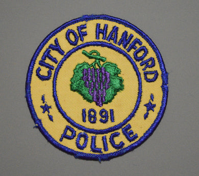 Hanford California Police Patch ++ Rare 1st Issue CA