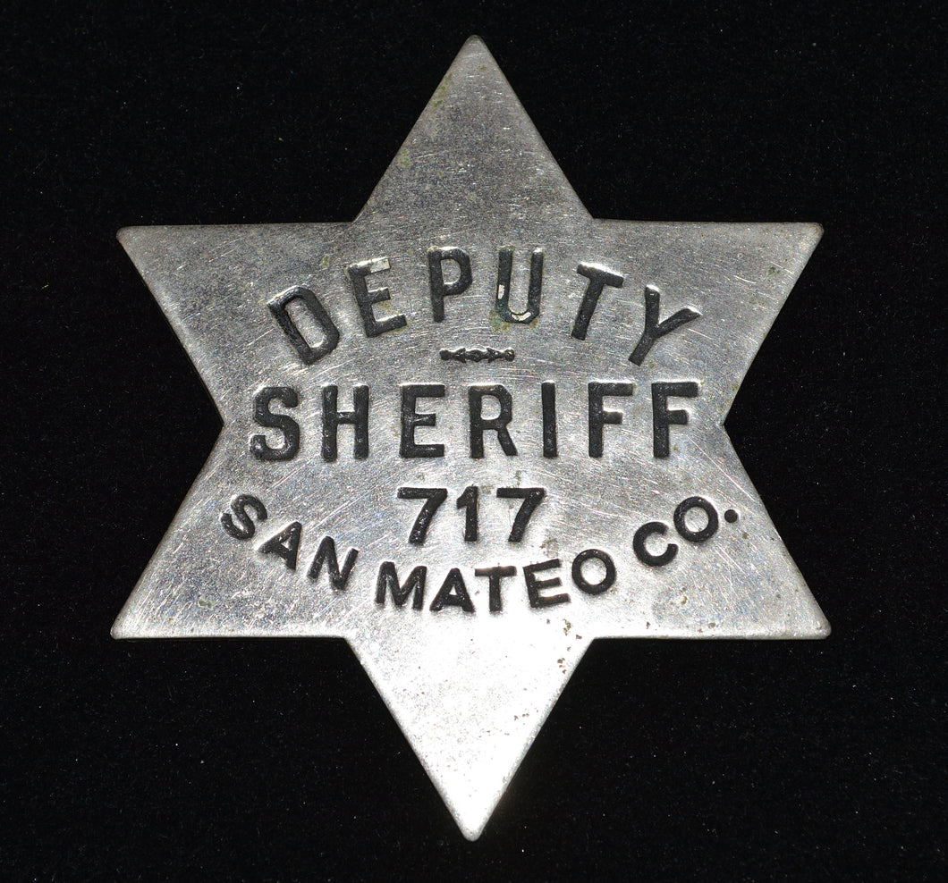 San Mateo County Deputy Sheriff Vintage License Plate Topper Badge