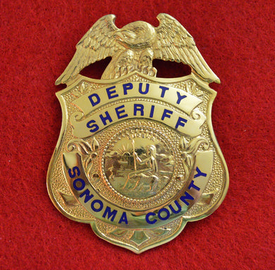 Sonoma County Deputy Sheriff Gold Front badge