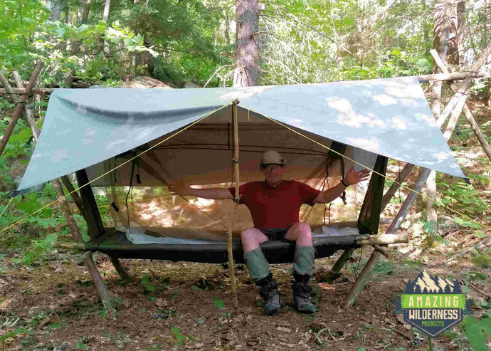 Amazing Wilderness Camp Cot As Raised Bed In Forest