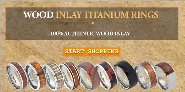 Titanium wedding bands with wood inlay
