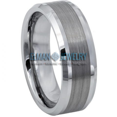 8mm Tungsten Wedding Band Brushed Center Shiny Lines on each side Beveled Edge