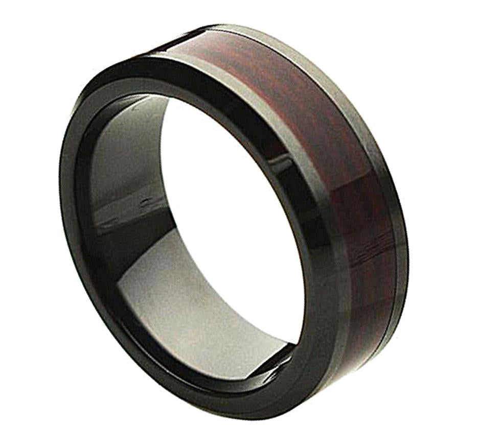 8mm Black Ceramic Ring with Burgundy Simulated Wood Inlay Inlay