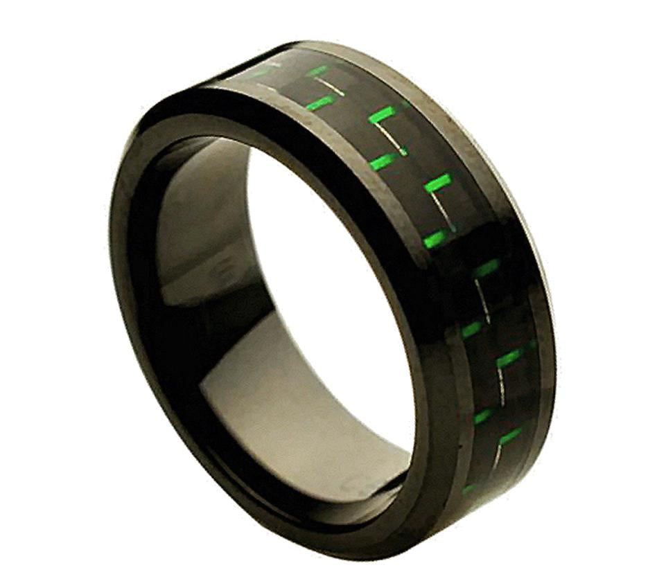 8mm Black Ceramic Ring with Green Carbon Fiber Inlay