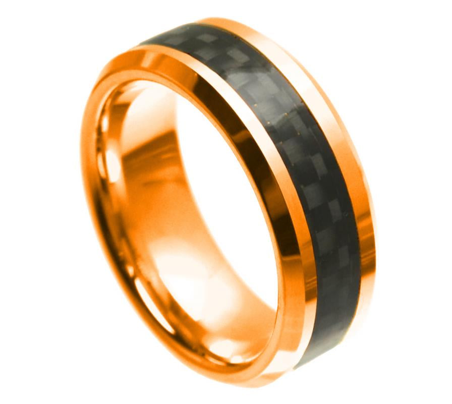 8mm Rose Gold Tungsten Ring Beveled Edge with Black Carbon Fiber Inlay