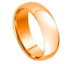 7mm Rose Gold IP Plated Tungsten Ring Domed High Polished
