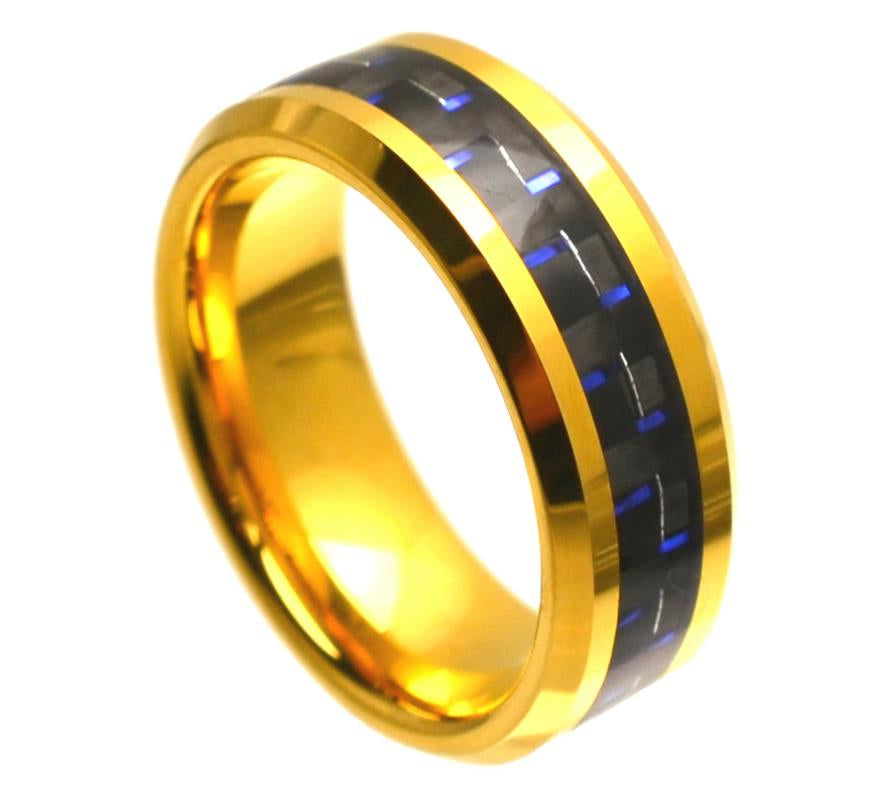 8mm Yellow Gold Tungsten Ring Beveled Edge with Blue & Black Carbon Fiber Inlay