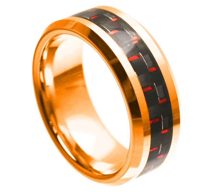 8mm Rose Gold Tungsten Ring Beveled Edge with Red & Black Carbon Fiber Inlay