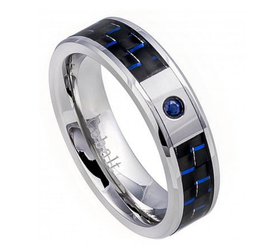 6mm Cobalt Wedding Ring with Black & Blue Carbon Fiber Inlay and Blue Sapphire Stone