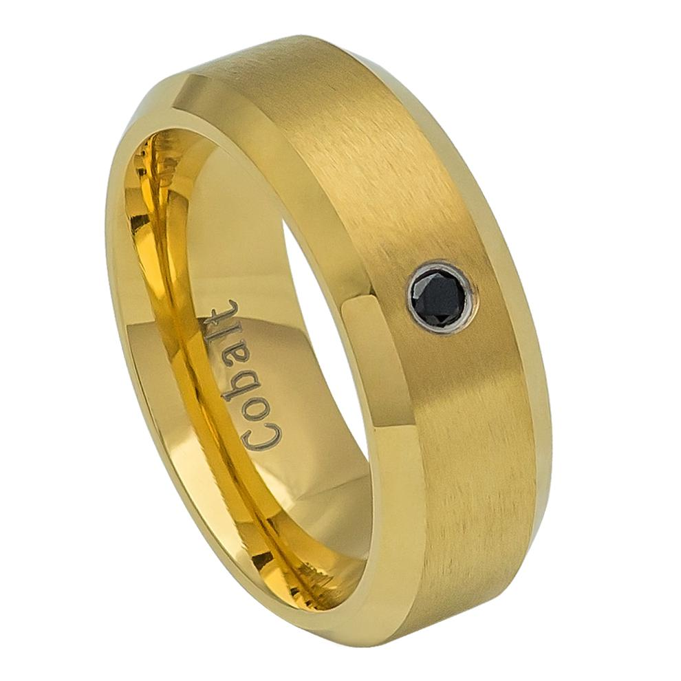 Cobalt Wedding Ring Yellow Gold IP Plated Brushed Finish Bezel-set Black Diamond