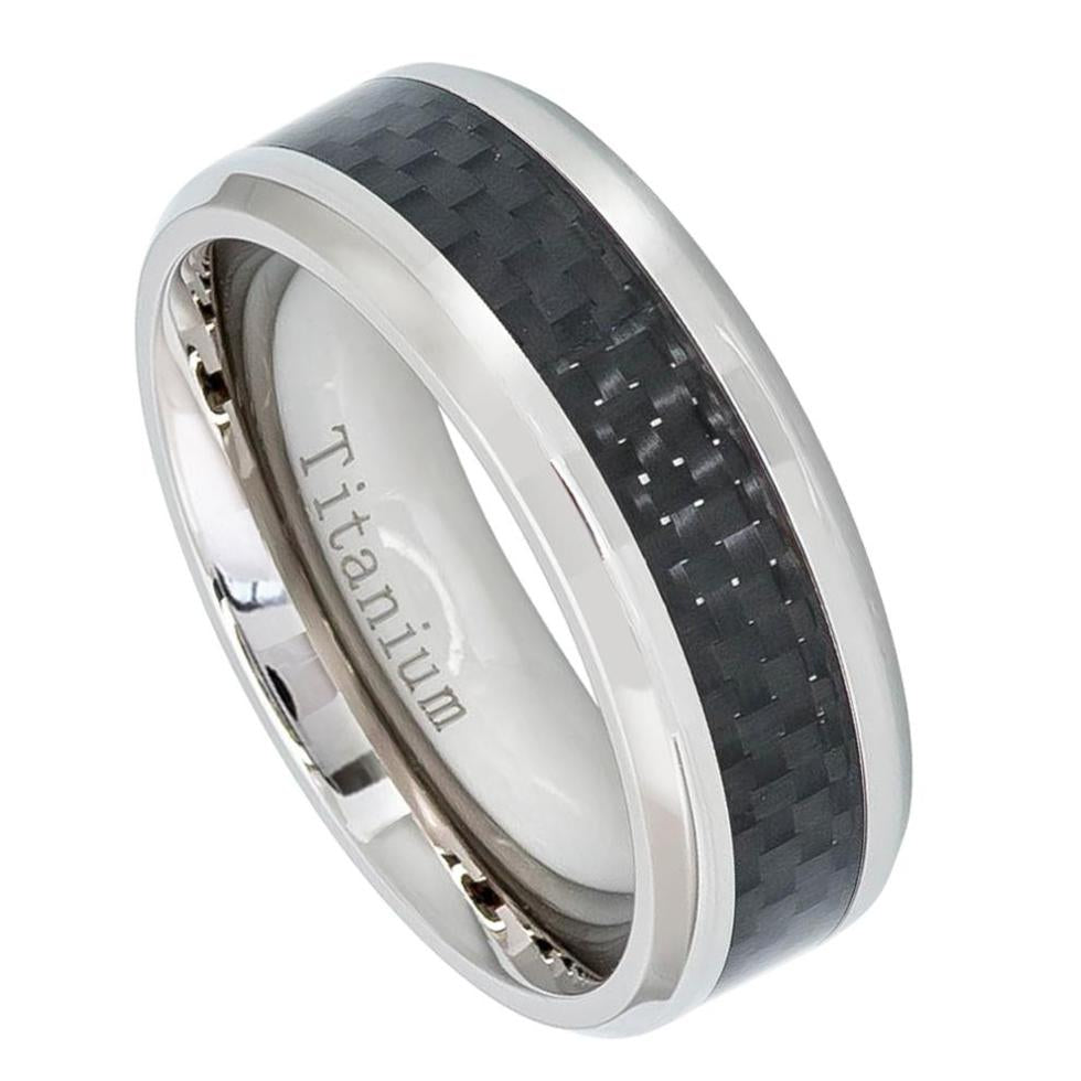 8mm High Polished Titanium Ring with Black Carbon Fiber Inlay
