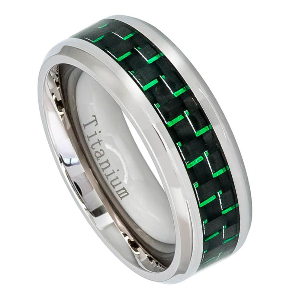 8mm High Polished Titanium Ring with Green Carbon Fiber Inlay