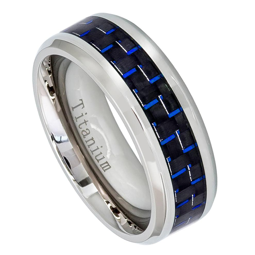 8mm High Polished Titanium Ring with Blue Carbon Fiber Inlay