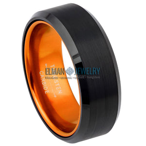 8mm Black Tungsten Carbide Ring with Orange Anodized Aluminum Sleeve