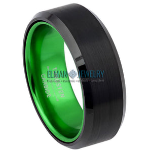 8mm Black Tungsten Carbide Ring with Green Anodized Aluminum Sleeve