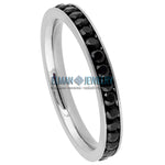 3mm Women's Titanium Eternity Ring Silver Plated with Black CZs
