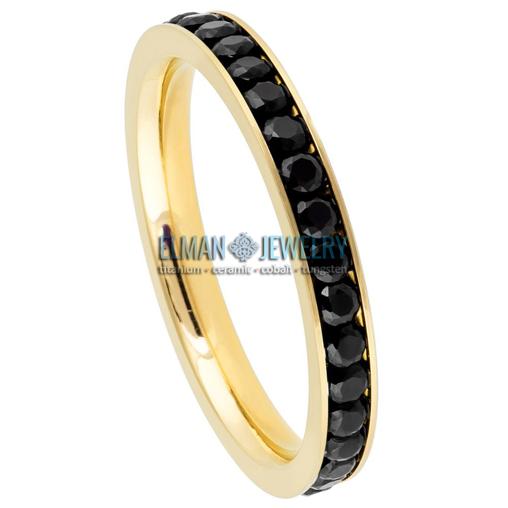 3mm Women's Titanium Eternity Ring Gold Plated with Black CZs