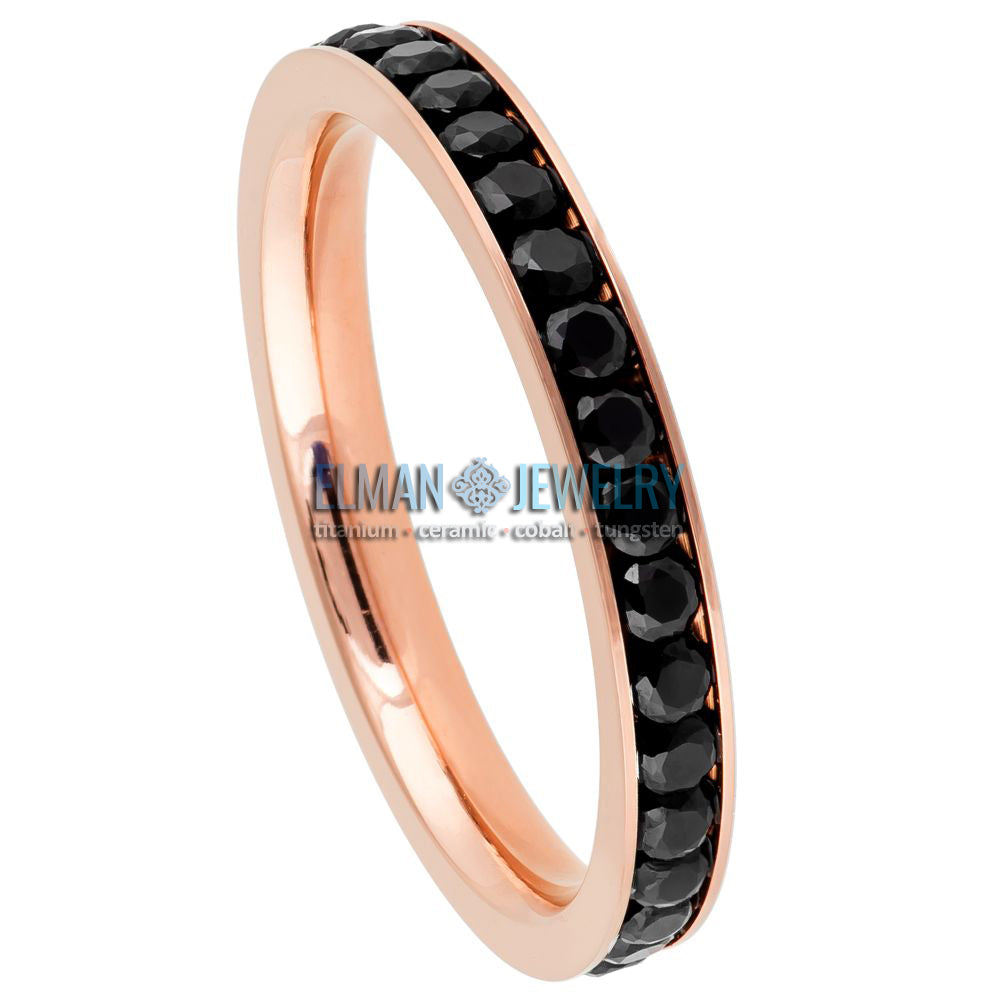 3mm Women's Titanium Eternity Ring Rose Gold Plated with Black CZs