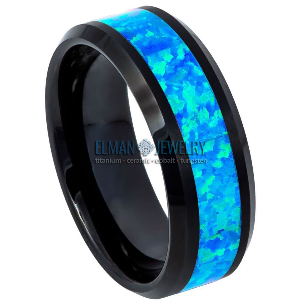 8mm Black Tungsten Wedding Ring with Opal Inlay and Beveled Edge