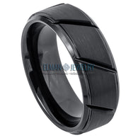 8mm Black IP Plated Tungsten Carbide Wedding Ring Multiple Diagonal Grooves Brushed Center