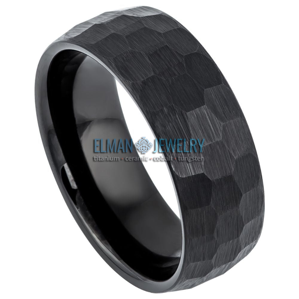 8mm Black Tungsten Wedding Band with Brushed Hammered Center