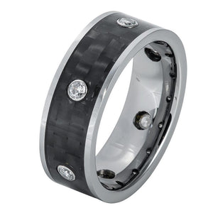 8mm Tungsten Ring Pipe-Cut Brushed with 6 CZs and Black Carbon Fiber