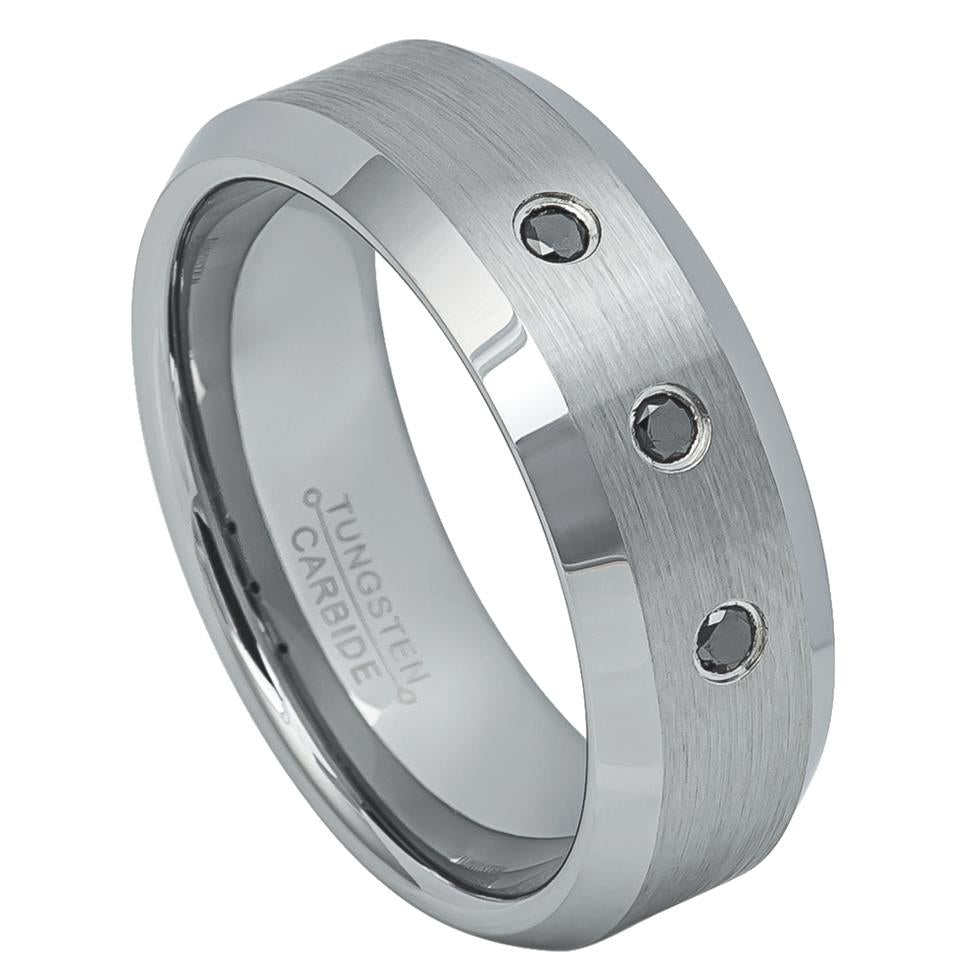8mm Tungsten Wedding Ring with three 0.07ct Black Diamonds