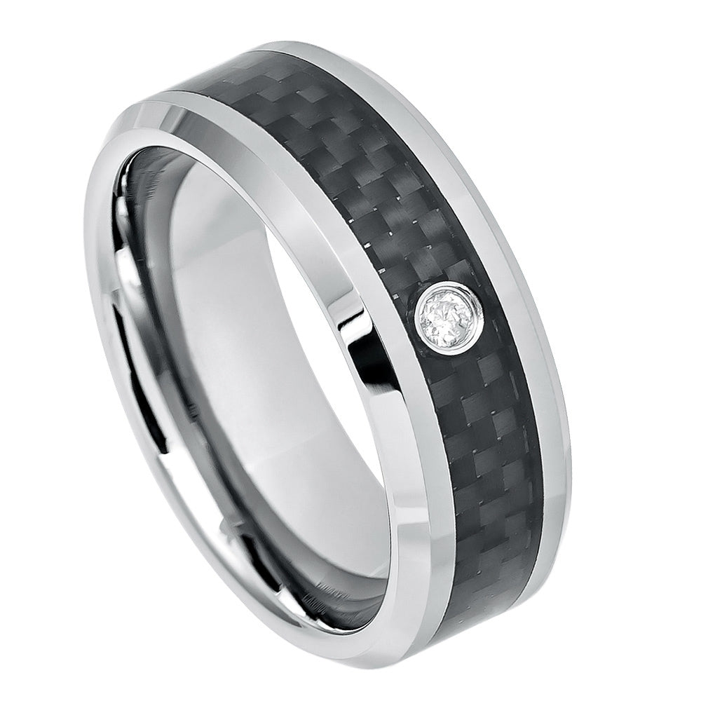 Diamond Tungsten Ring with 0.07ct White Diamond & Black Carbon Fiber Inlay
