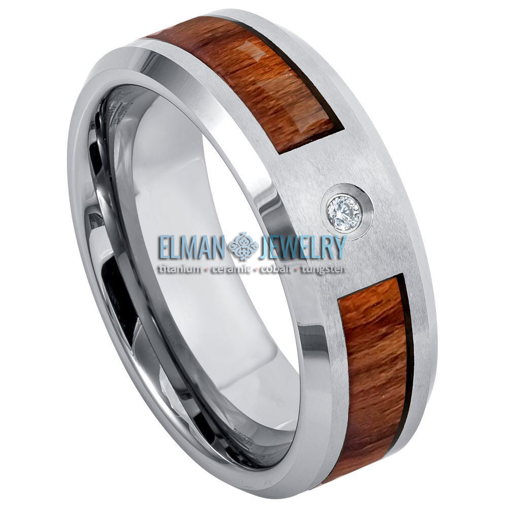 8mm Tungsten Ring High Polished with White Diamond and Koa Wood Inlay