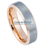 6mm Tungsten Ring Rose Gold IP Plated Inside & Gun Metal Brushed Center