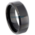 8mm Black IP Plated Tungsten Ring Alternating Matte & Shiny Bocks