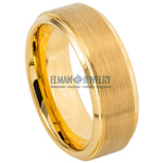 8mm Gold IP Plated Tungsten Ring with Brushed Center Stepped Edge