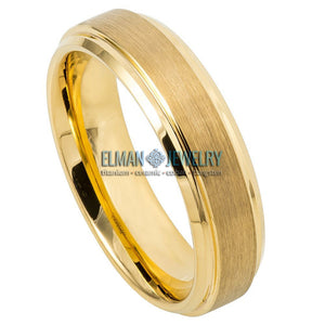 6mm Gold IP Plated Tungsten Ring with Brushed Center Stepped Edge