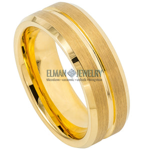 8mm Gold IP Plated Tungsten Wedding Ring Grooved Brushed Center