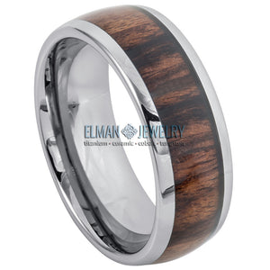 8mm Tungsten Ring Domed Band with Koa Wood Inlay