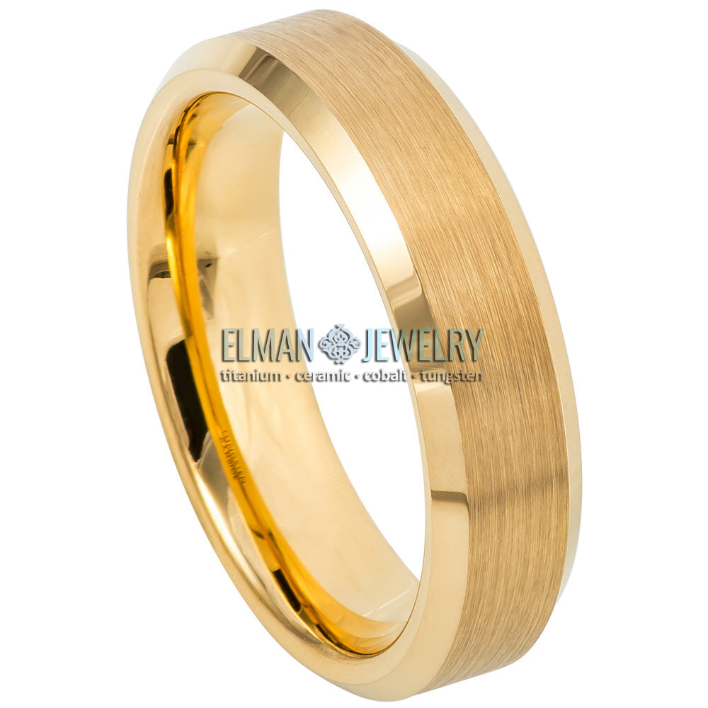 6mm Gold IP Plated Tungsten Wedding Ring with Brushed Center