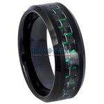 8mm Black IP Tungsten Ring with Green & Black Carbon Fiber Inlay