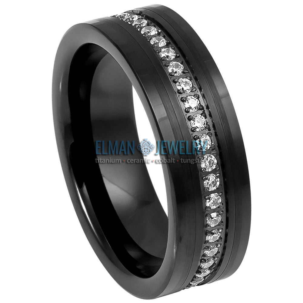 Black IP Tungsten Ring Brushed Center Low Stepped Edge Eternity Style CZs