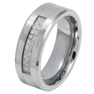 8mm Tungsten Eternity Band with Double Row Prong-Set 24 Round White CZs