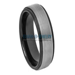 6mm Men's Tungsten Carbide Wedding Band Ring with Gun Metal Brushed Center