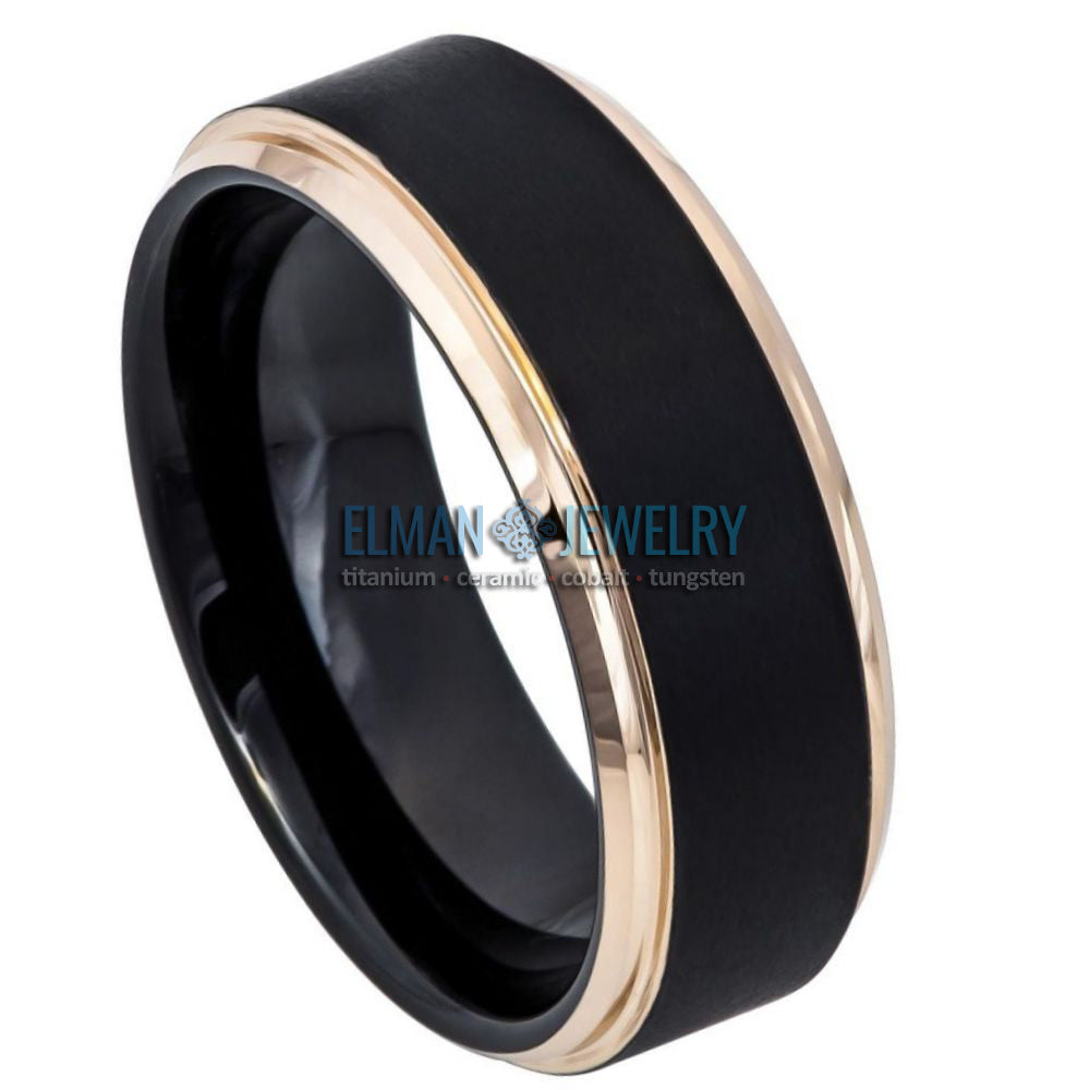 8mm Black IP Plated Tungsten Carbide Ring Rose Gold IP Stepped Edge