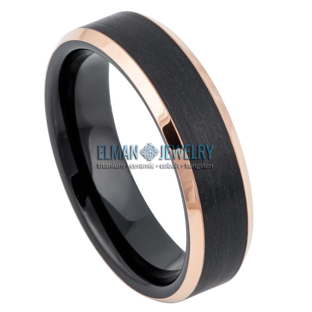 6mm Black IP Plated Tungsten Carbide Ring Rose Gold IP Beveled Edge