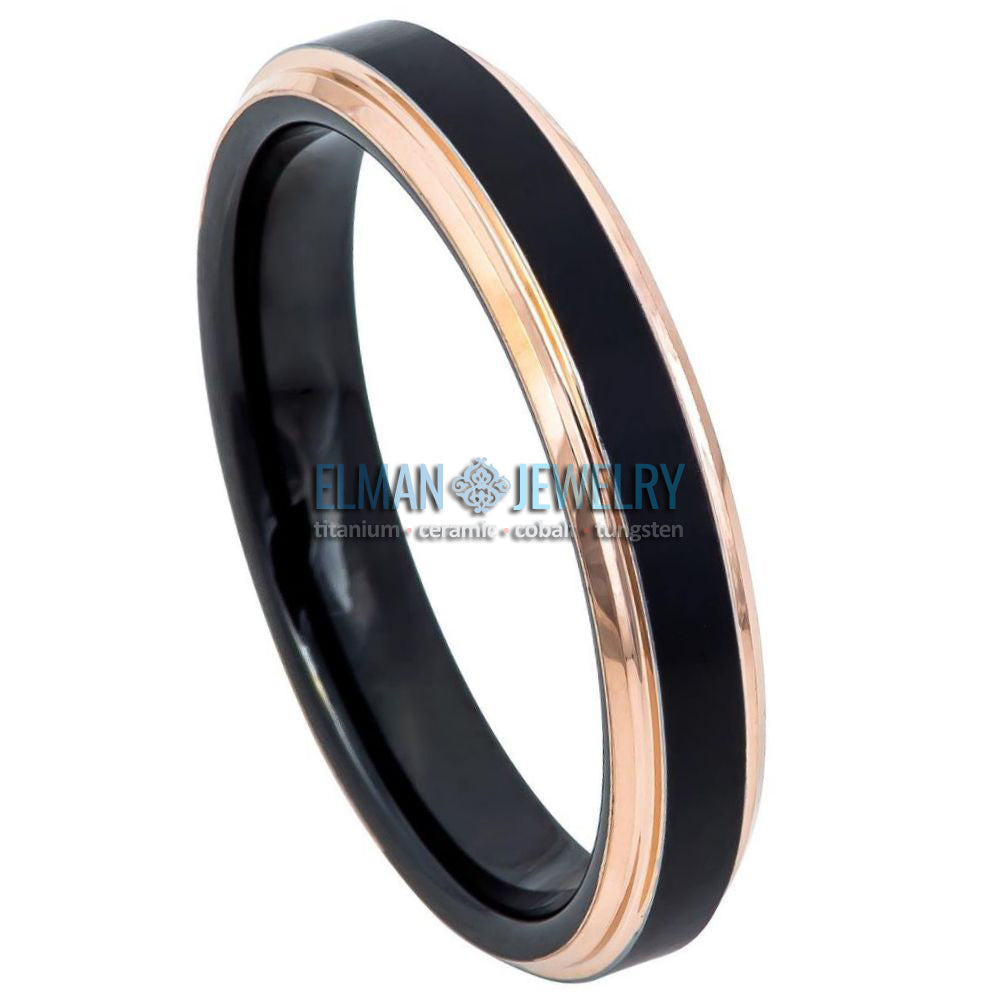 4mm Black IP Plated Tungsten Carbide Ring Rose Gold IP Stepped Edge