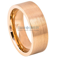 8mm Rose Gold IP Plated Brushed Pipe Cut Tungsten Band