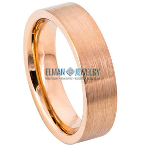 6mm Rose Gold IP Plated Flat-Pipe Tungsten Ring with Brushed Center