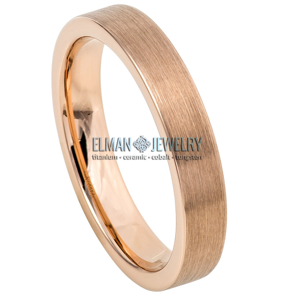 4mm Rose Gold IP Plated Flat-Pipe Tungsten Ring with Brushed Center