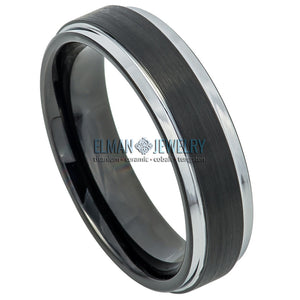 6mm Black Tungsten Carbide Wedding Band Ring Black IP Brushed Center & Steel Color Stepped Edge