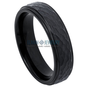 6mm Black Tungsten Wedding Band with Hammered Center and Stepped Edge