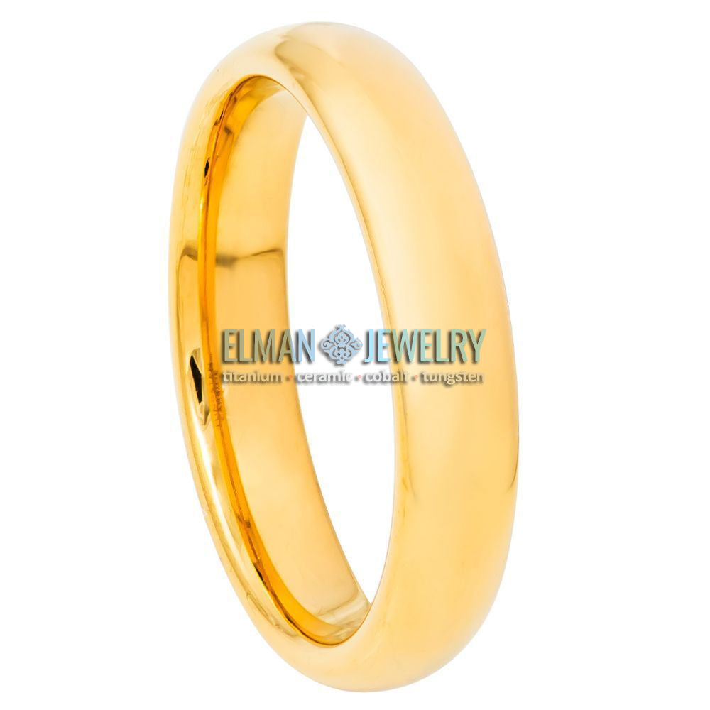 4mm Gold IP Plated Domed High Polished Tungsten Ring