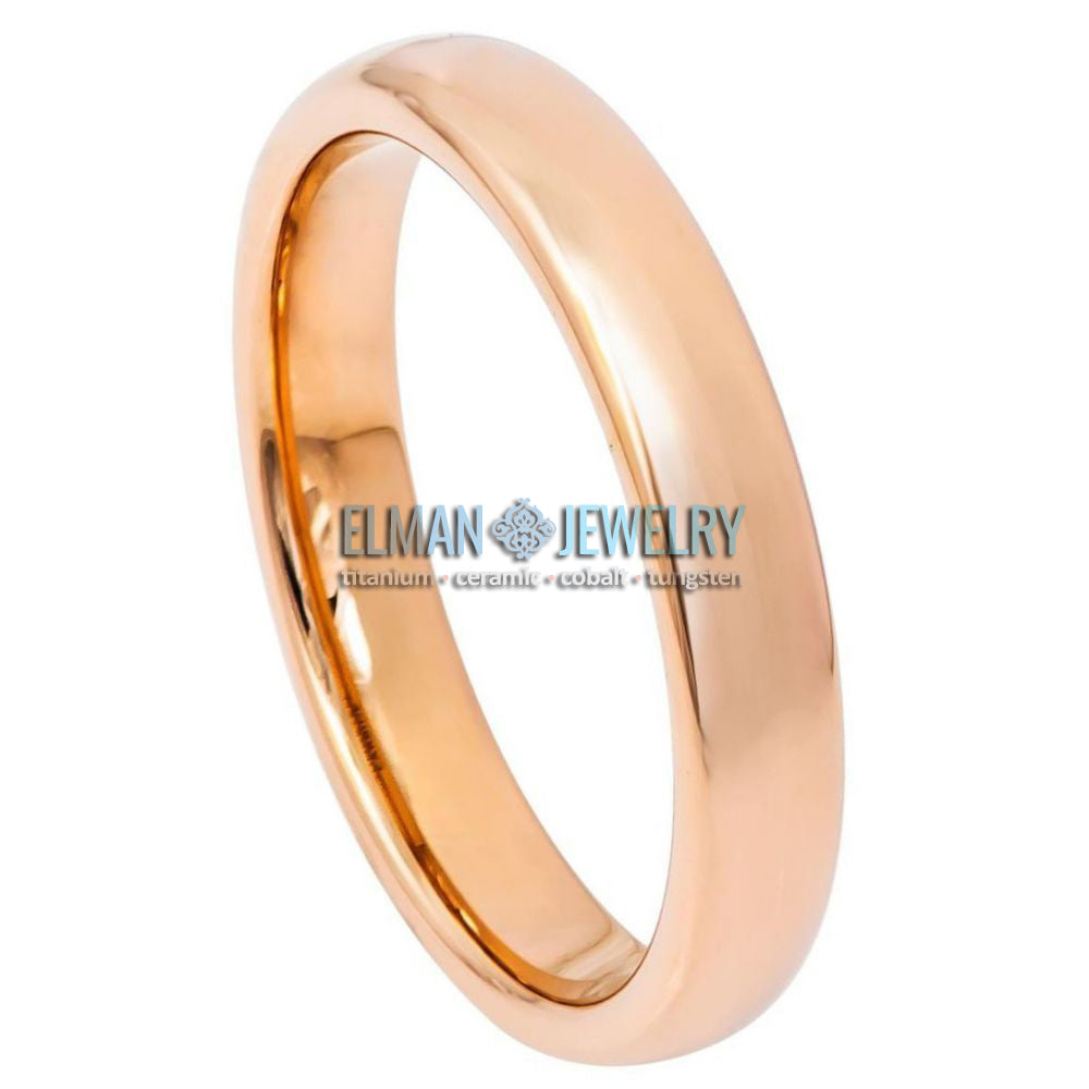 4mm Rose Gold IP Plated Domed High Polished Tungsten Ring